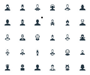 Vector Illustration Set Of Simple Human Icons. Elements Student, Young Shaver, Proletarian And Other Synonyms Boy, Agent And Fatigue.