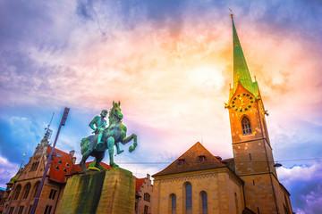 Hans Waldmann monument and Fraumunster Church, Zurich, Switzerland