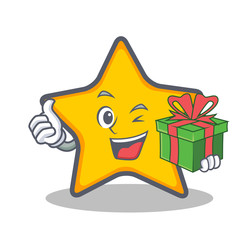 star character cartoon style with gift