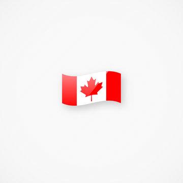 Shiny glossy small waving Canadian flag vector icon