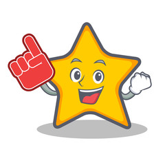 Foam finger star character cartoon style
