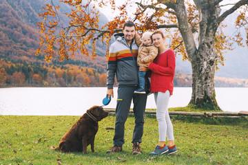 Family on the Lake Bohinj, Slovenia, Europe