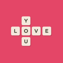 Love message written with tiles vector illustration