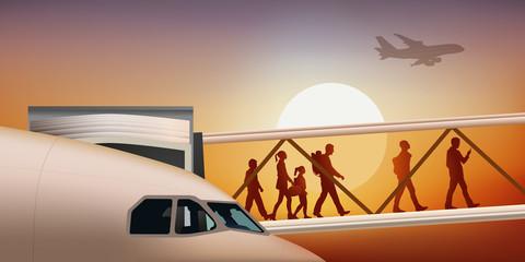 avion de ligne - aéroport - passerelle - arrivée