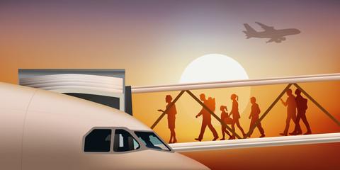 avion de ligne - aéroport - passerelle d'embarquement - départ