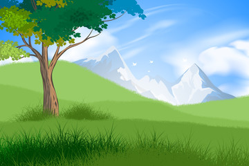 Tree and forest scene vector nature landscape background