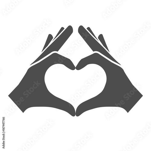 hands making or formatting a heart symbol icon stock image and