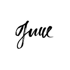 Hand drawn typography lettering. June. Month inscription. Vector Illustration.