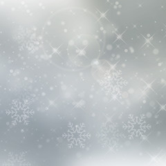Abstract silver winter background with snowflakes