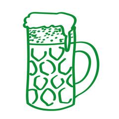 Handgezeichneter Bierkrug in grün