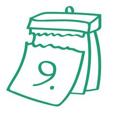 Handgezeichneter Kalender - Tag 09 in grün