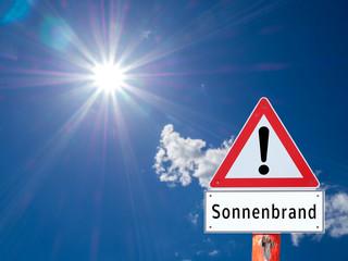 Warnschild Sonnenbrand