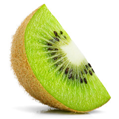 Ripe slice of kiwi fruit stand isolated on white background