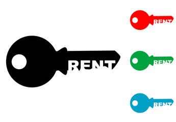 Logotipo RENT espacio negativo llave varios colores