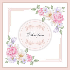 Greeting card with bouquet flowers for wedding, birthday and other holidays. Vector floral angle.