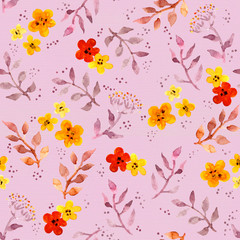 Seamless cute floral pattern with ditsy naive flowers and leaves. Watercolour