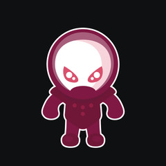 alien in space suit, sticker in flat style on dark, vector illustration