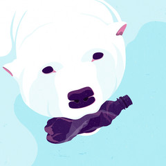 Illustration of polar bear carrying in mouth plastic bottle