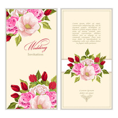 set Greeting card with bouquet flowers for wedding, birthday and other holidays. Floral  frame