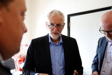 Britain's opposition Labour Party leader Jeremy Corbyn speaks at BAWA Sports and Leisure Centre in Bristol