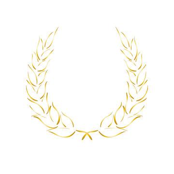 Lorbeerkranz - Symbol - gold - Zeichnung