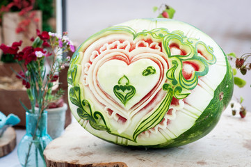 Carving watermelon. Decoration fresh fruit