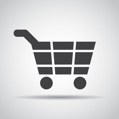 Cart icon with shadow on a gray background. Vector illustration