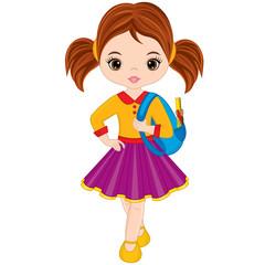 Vector Cute Little Girl with School Bag