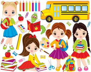 Vector Back to School Set with Cute Little Girls, Bookworm and School Stationery
