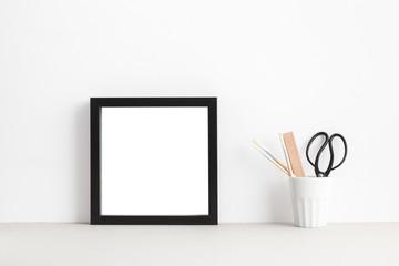 Black square picture frame mock up.