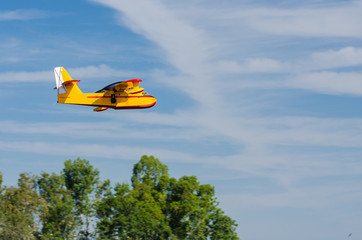 Radio controlled model hydroplane  flying