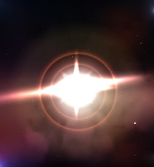 Stars explosion vector banner. Space background