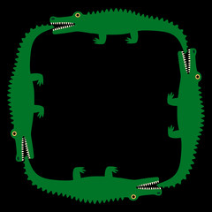 Background of the crocodile. Decorative pattern. Black field and green crocodiles. Vector Image.