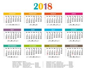 2018 calendar with us holidays