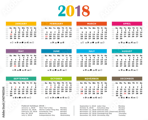 Year Calendar Showing Week Numbers : Quot multicolored yearly calendar federal holidays moon