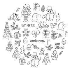 Christmas New year Santa Claus Doodle vector icons Presents Birds Christmas tree Candy Christmas bell Snowflake Coloring page