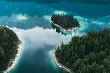 Aerial photograph of lake Eibsee and it's small forest islands