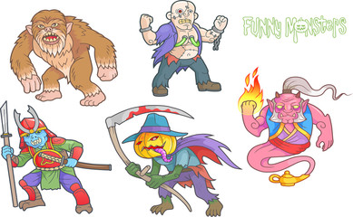 Set of cartoon images funny monsters