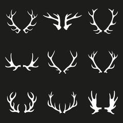 Antler icon set. Deer antlers or Horns collection. Vector illustration.