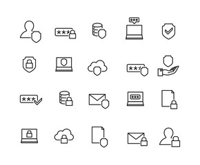 Data security linear icons set