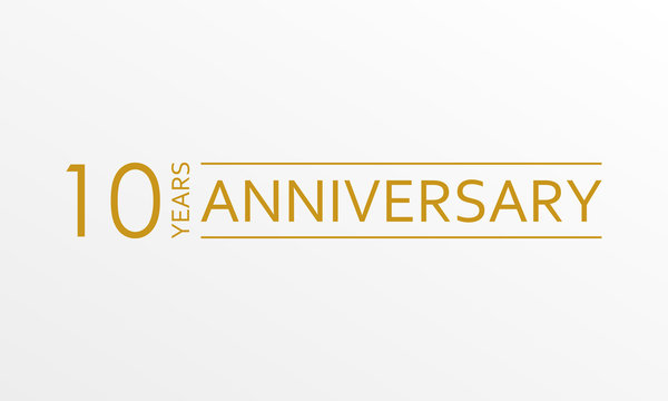 10 years anniversary emblem. Anniversary icon or label. 10 years celebration and congratulation design element. Vector illustration.