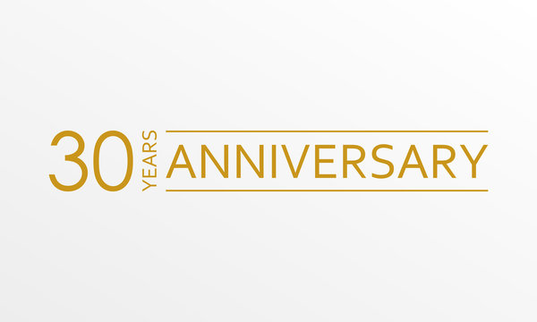 30 years anniversary emblem. Anniversary icon or label. 30 years celebration and congratulation design element. Vector illustration.