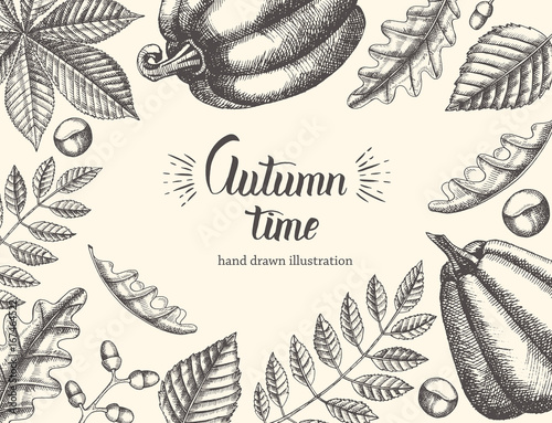 Vintage Autumn Background With Hand Drawn Leaves And Pumpkin. Hand Written  Trendy Quote U0027Autumn