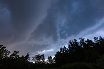 Scarry dark storm clouds over forest