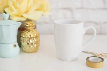 Mug Mockup. Coffee Cup Template. Coffee Mug Printing Design Template. White Mug Mockup. Blank Mug. Styled Stock Product Image. Styled Stock Photography White Coffee Cup and Rose Flower