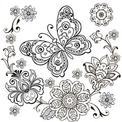 Decorative butterfly with floral ornament for anti Stresa Coloring