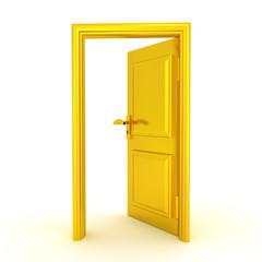 3D illustration of a half opened golden door