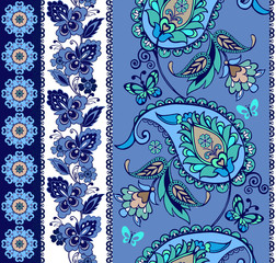 Set of oriental borders with paisley in blue. Set of Lace Bohemian Seamless Borders. Stripes with Blue Floral Motifs. Decorative ornament backdrop for fabric, textile, wrapping paper