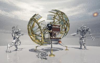 Zeitmaschine und Roboter