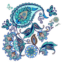 Elegant vector background with butterflies and Eastern ornament with paisley